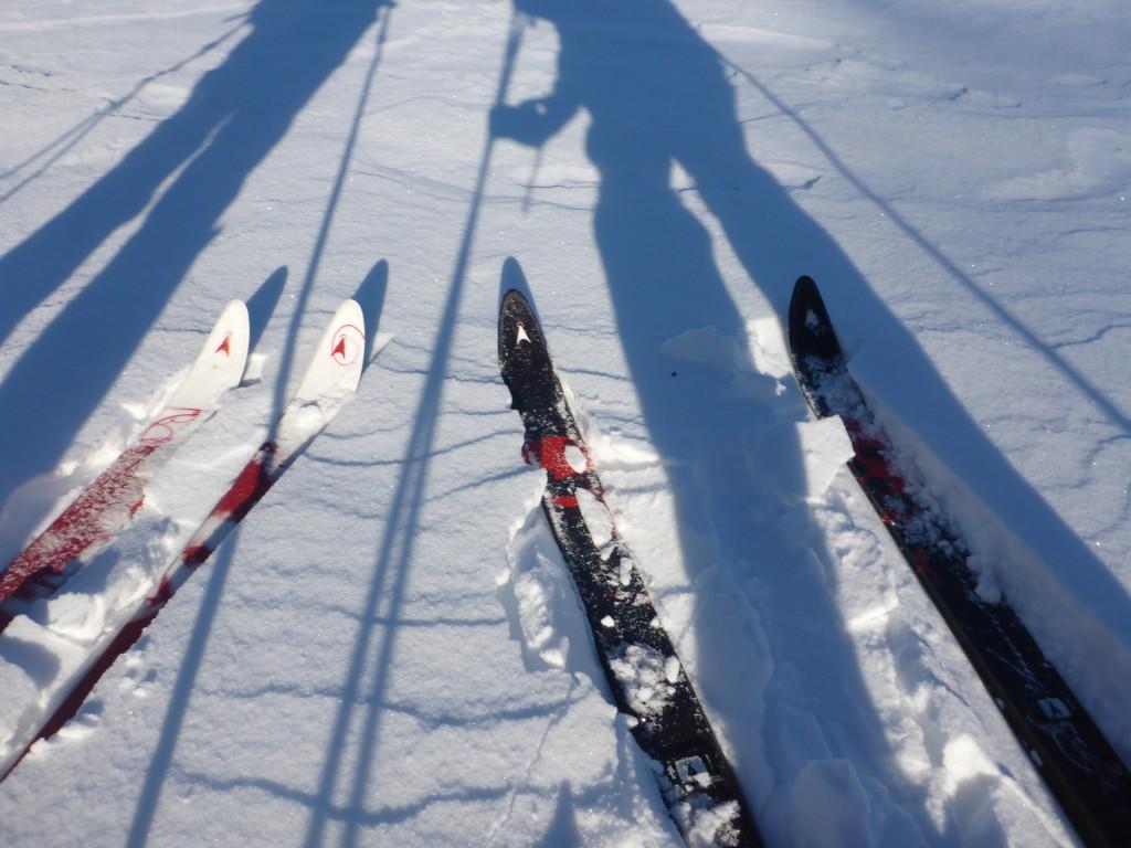Med feller under skiene har vi godt feste til å dra de tunge pulkene