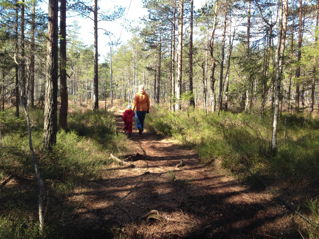 Etter en natt i Østmarkas skoger spaserer store og små hjemover igjen