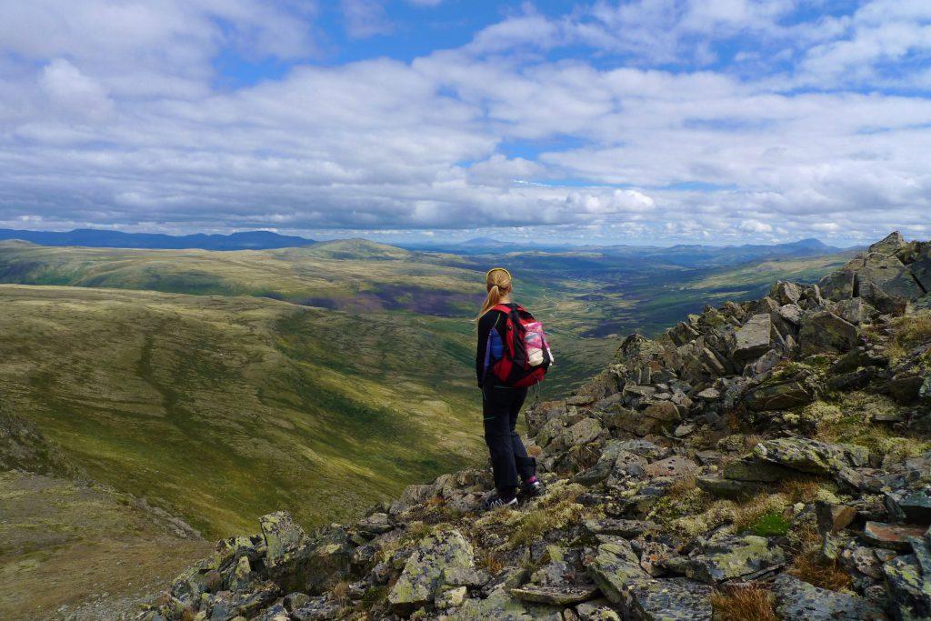 Fra toppen ved Kattuglehøe kan vi se Grimsdalen, Dovrefjell, Rondane og Jotunheimen.